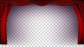 Red Theater Curtain Vector. Transparent Background. Poster For Concert, Theater, Opera Or Cinema Empty Silk Stage, Red. Red Theater Curtain Vector. Transparent stock illustration