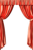 Red theater curtain on white background Stock Images