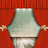 Red theater curtain with wooden floors. Background with red velvet curtain and a wooden floor. Vector illustration Stock Photo
