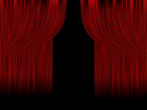 Red theater curtains Stock Photo
