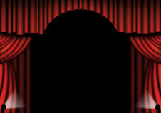 Red Theater Drapes. With spotlights either side Stock Photography