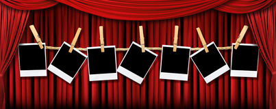 Red Theater Drapes and Polaroids With Dramatic Lig Royalty Free Stock Photos