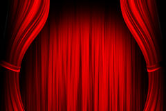 Red theater stage. Opende red theater stage background Royalty Free Stock Images