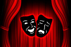Red theater stage. With mask Stock Image