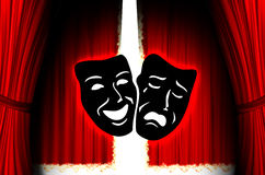 Red theater stage. With mask Royalty Free Stock Photography