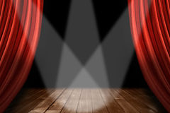Red Theater Stage Background With 3 Spotlights Cen Stock Photo