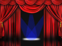 Red Theater Stage With Blue Spot Lights royalty free stock image