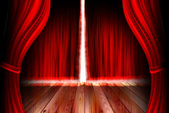 Red theater stage with curtain Stock Photography
