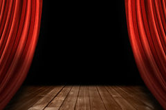 Red Theater Stage Drapes With Wooden Floor stock photo