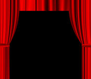 Red theatre curtain with empty space for text. Red theatre drapered curtain with black empty space for text Royalty Free Stock Images