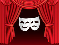 Red theatre curtains with masks. Background with illustration of red theatre curtains with classical white masks and place for your text Royalty Free Stock Image