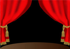 Red theatrical curtain with cyst Royalty Free Stock Photography