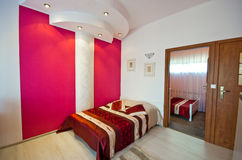 Red theme bedroom Royalty Free Stock Photography