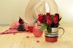Red theme rose vintage lamp apple decor idea backround Stock Photography