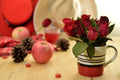 Red theme rose vintage lamp apple decor idea backround Stock Photos