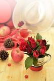 Red theme rose vintage lamp apple decor idea backround Royalty Free Stock Photos