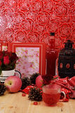 Red theme rose vintage lamp apple decor idea backround Royalty Free Stock Photo