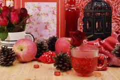 Red theme rose vintage lamp apple decor idea backround Stock Images