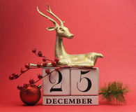 Red theme Save the Date calendar for Christmas Day, December 25. Red theme Save the Date calendar for Christmas Day, December 25, with bauble and reindeer Stock Photography