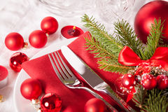Red themed Christmas place setting Stock Photo