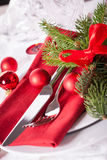 Red themed Christmas place setting Royalty Free Stock Image