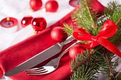 Red themed Christmas place setting Stock Images