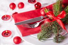 Red themed Christmas place setting Stock Photography