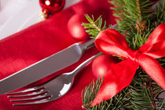 Red themed Christmas place setting Royalty Free Stock Images