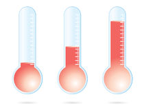 Red thermometer. Set of three red thermometers Royalty Free Stock Image