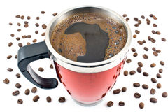 Red thermos with coffee drink and beans Stock Photo