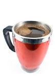 Red thermos cup with coffee drink Royalty Free Stock Image