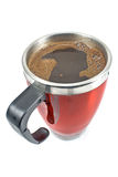 Red thermos cup with coffee drink Royalty Free Stock Photos