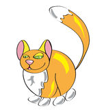 Red thick fluffy cat, funny animal in a simple style. Children, Royalty Free Stock Images