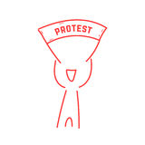 Red thin line man holding protest banner Royalty Free Stock Photography