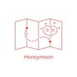Red thin line map pin like honeymoon Royalty Free Stock Photos