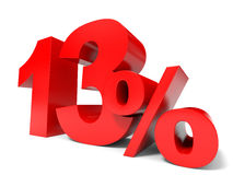 Red thirteen percent off. Discount 13%. 3D illustration royalty free illustration