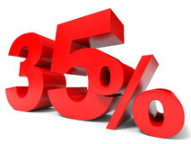 Red thirty five percent off. Discount 35%. 3D illustration Royalty Free Stock Photos