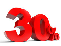 Red thirty percent off. Discount 30%. 3D illustration Royalty Free Stock Images