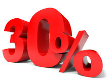 Red thirty percent off. Discount 30%. 3D illustration Royalty Free Stock Photo