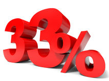 Red thirty three percent off. Discount 33%. 3D illustration Stock Images