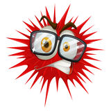 Red thorny ball with face Stock Photos