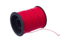 Red thread on black plastic spool Royalty Free Stock Image