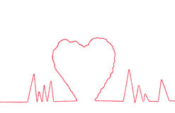 Red thread in heart sign shape Royalty Free Stock Photography