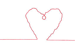 Red thread in heart sign shape Stock Photography