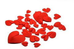 Red three dimmensional hearts isolated on white background. Valentines day concept stock photo