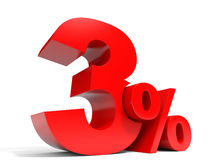 Red three percent off. Discount 3%. Stock Photo
