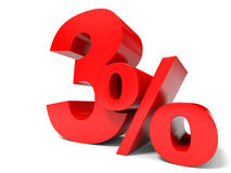 Red three percent off. Discount 3%. Royalty Free Stock Photography