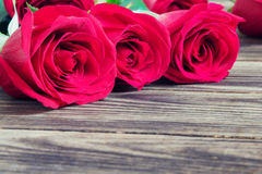 Red three roses on a wooden background Royalty Free Stock Photos