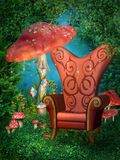 Red throne and mushrooms. Fantasy forest with a red throne and mushrooms stock illustration