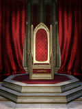 Red throne room. Fantasy throne room with red curtains vector illustration